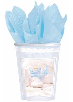 Pack of 8 Blue Christening Party Cups