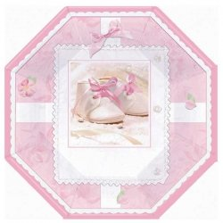 Pack of 8 Pink Christening Party Plates Large