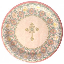 Set of 8 Communion Or Christening Party Plates Stained Glass Design