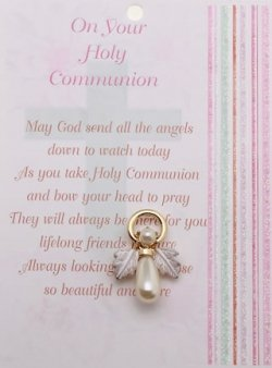 60021 First Communion Gift Pearl Angel Pin Or Brooch