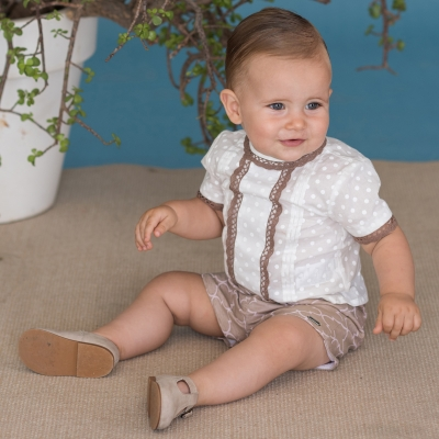 Dolce Petit Boys Ivory Top Caramel Lace Caramel Shorts Set