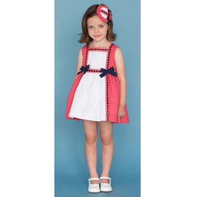 Dolce Petit Girls White Coral Red Navy Bows Dress