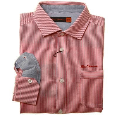 Picture of Ben Sherman Boys Shirt In Red Stripes bs0504rdj shirt red