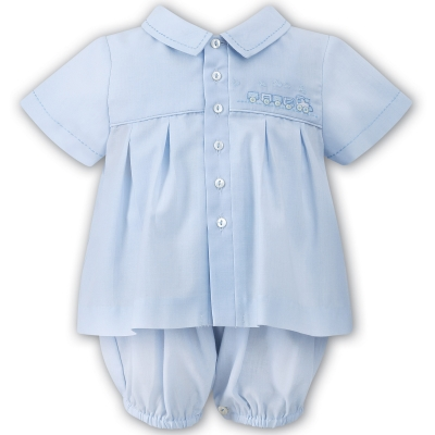 Sarah Louise Baby Boys Two Piece Blue Dungarees Set
