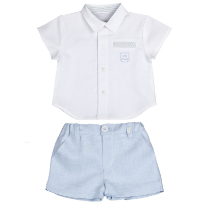 Sale Tutto Piccolo Baby And Toddler Linen White Shirt Blue Shorts Set