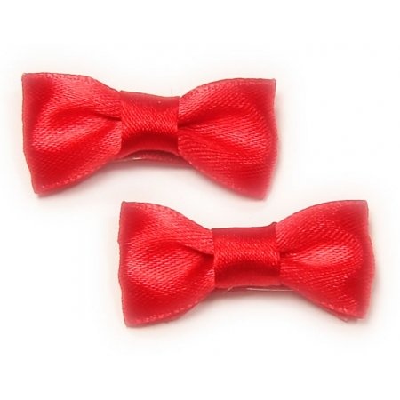Pair of hair clips with bow in red