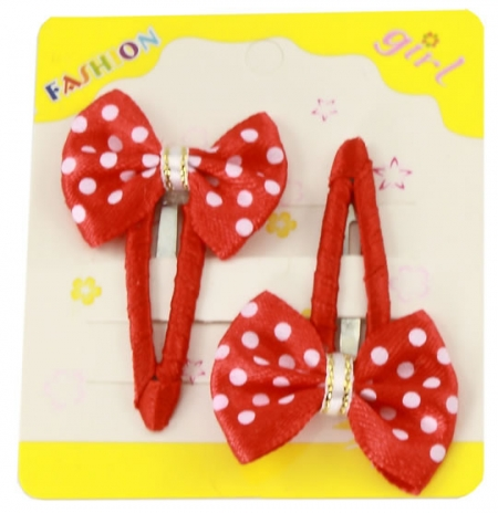 Pair of red white spots hair clips with bow