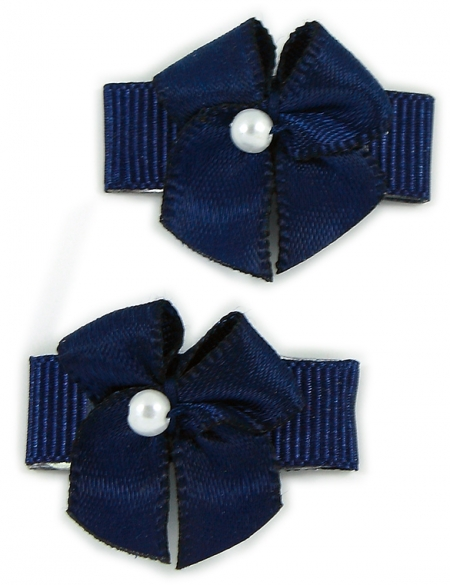Navy Bow Snap Clips For Baby With Little Or Fine Hairs