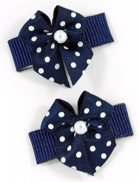 Navy Polka Dots Snap Clips For Baby With Little Or Fine Hairs