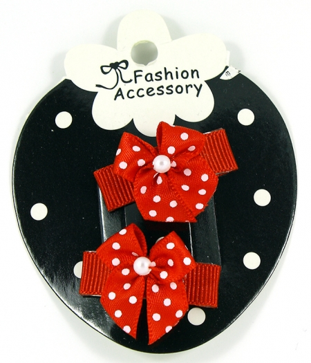 Red Polka Dots Snap Clips For Baby With Little Or Fine Hairs