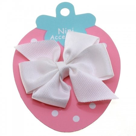 White Boutique Bow Large Grosgain Ribbon