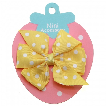 Lemon Yellow Polka Dots Boutique Bow Large Grosgain Ribbon