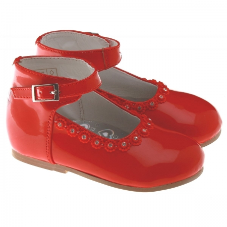 Baby And Toddler Girls Red Shoes In Patent With Diamonates And Red Beads