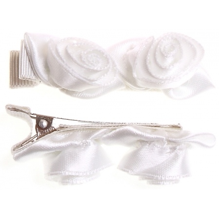 Pair of white 2 rose buds hair clips FREE POSTAGE