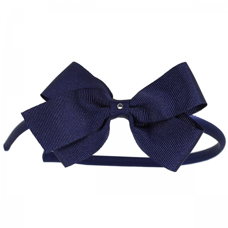 Navy bow Alice band with diamante