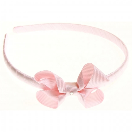 Pink bow Alice band