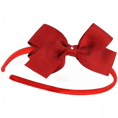 Red bow Alice band with diamante