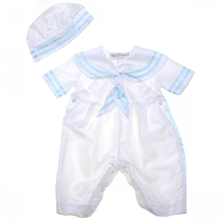 Baby Boys White Blue Sailor Christening Romper