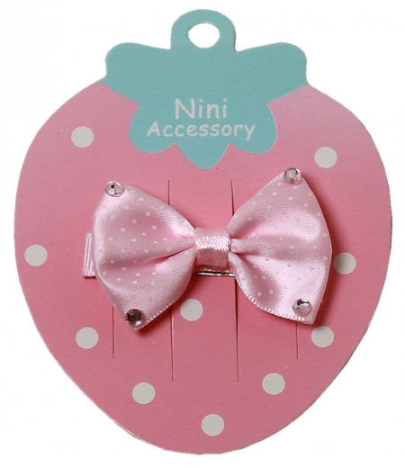 Pink bow hair clip with 4 pink diamontees