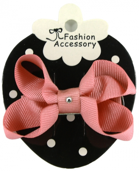 One Dusky Pink Hair Bow With Diamonate In Crocodile Clip