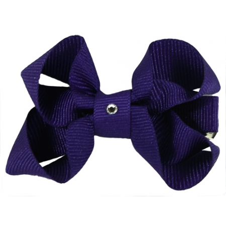 Purple Hair Bow With Diamonate In Crocodile Clip