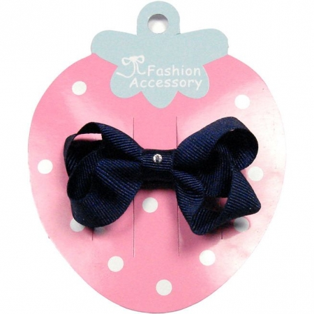 One navy hair bow with diamonate in crocodile clip