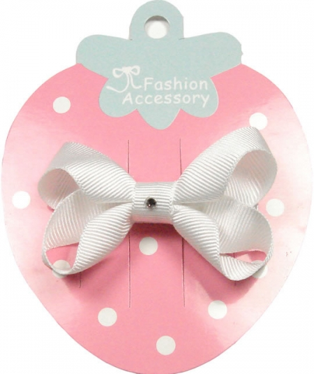 One white hair bow with diamonate in crocodile clip