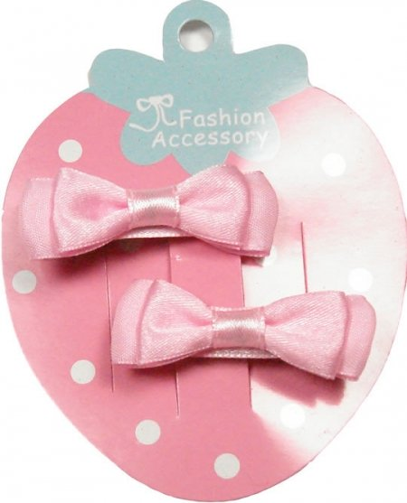 Pair of pink hair bow with crocodile clips
