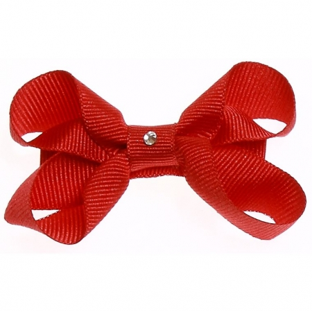 One red hair bow with diamonate in crocodile clip