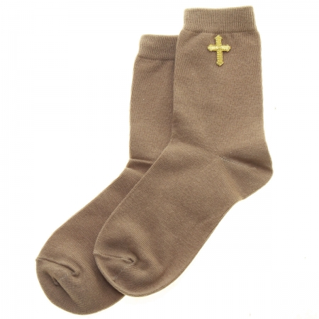 Gold Cross Decorated Boys Brown Communion Socks