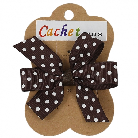 Brown White Polka Dots Boutique Bow