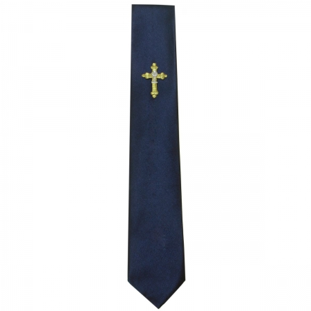 Boys Navy Communion Tie with a Chalice Cross