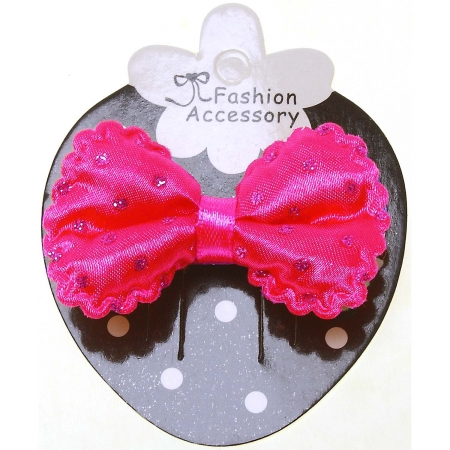 Deep Pink Hair Bow With Glitter cherise Polka Dots