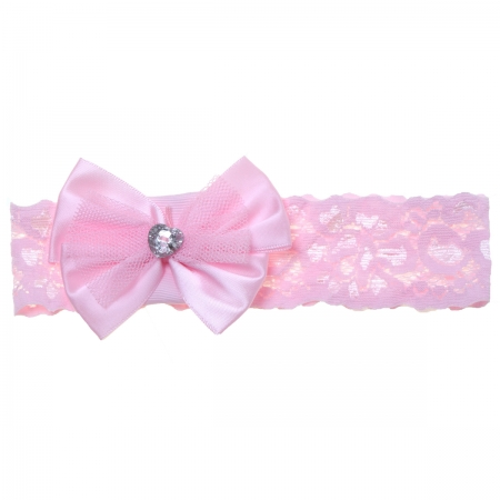 Lace Hair band With Diamante Bow In Pink For Baby And Toddler Girls
