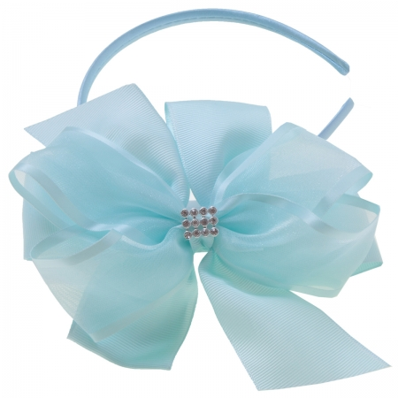Baby Blue Gros Grain Organza Bow Alice Band