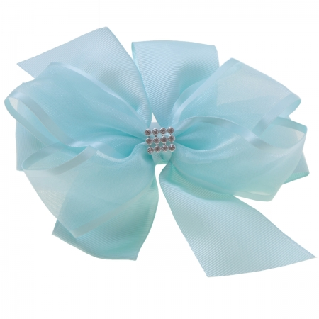 Large Baby Blue Gros Grain Organza Bow