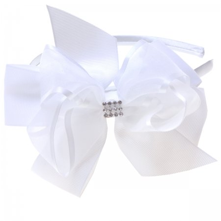 White Gros Grain Organza Bow Alice Band