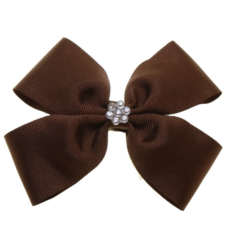 Large Brown Bow With Glitter Diamantes