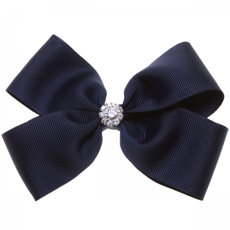 Large Navy Bow With Glitter Diamantes