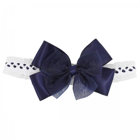 Large Navy Bow Headband