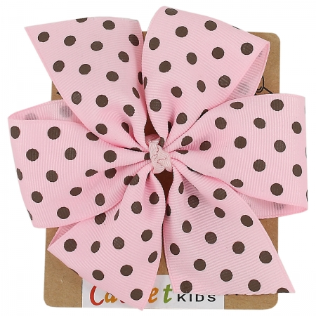Large Pink Brown Polka Dots Bow