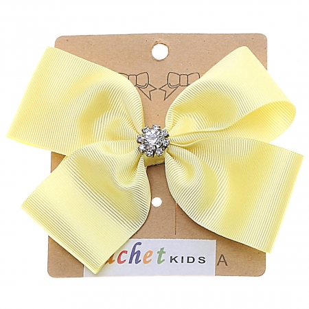 Large Lemon Yellow Bow With Glitter Diamantes