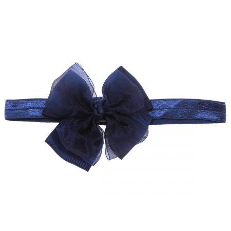 2 In 1 Navy Bow And Headband