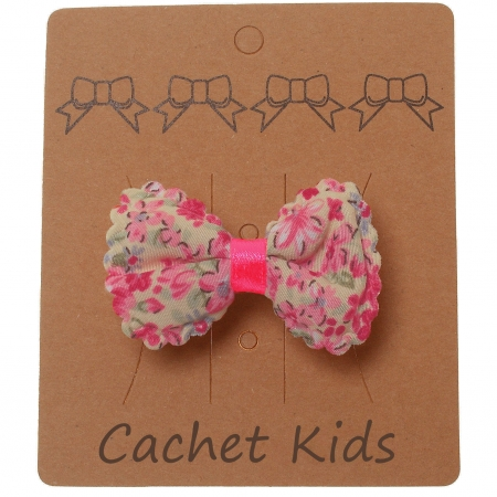 Pink Floral Hair Bow Fuchsia Ribbon