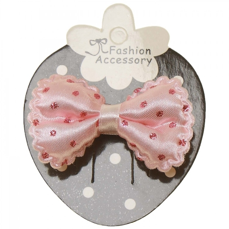 Pink Hair Bow With Glitter Pink Polka Dots