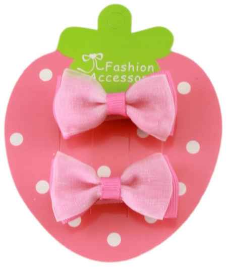 Double Bows chifton pink on Fuchsia Hair Bow