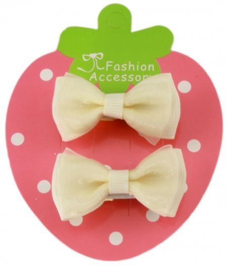 Double Bows Satin Ivory Hair Bow