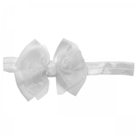 White Bow And White Headband 2 In 1