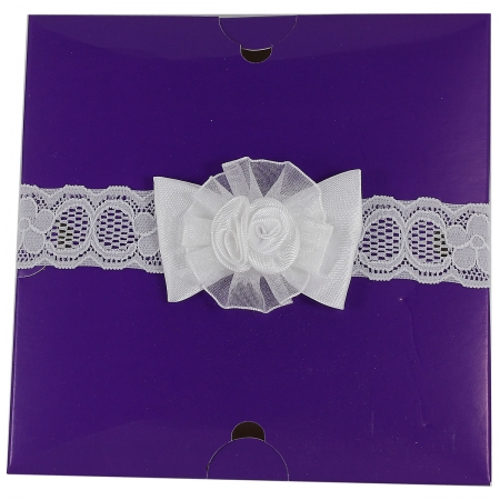 Infant White Lace Headband With Bow