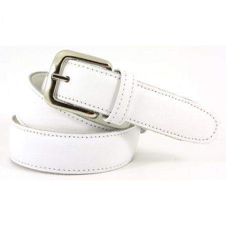 Boys White Belt Leather